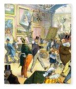 Scene In The Louvre 1911 Fleece Blanket