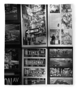 Scenes Of New York In Black And White Fleece Blanket
