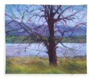 Scenic Landscape Painting Through Tree - Spring Has Sprung - Color Fields - Original Fine Art Fleece Blanket