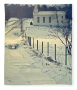 Scenic Sunday Little White Church Fleece Blanket