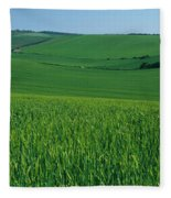 Scenic View Of A Field, South Downs Fleece Blanket