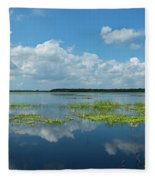 Scenic View Of A Lake Against Cloudy Fleece Blanket