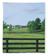 Scenic View Of Horse Farm, Woodford Fleece Blanket