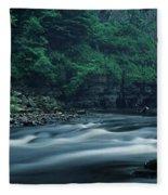 Scenic View Of Waterfall, Teesdale Fleece Blanket