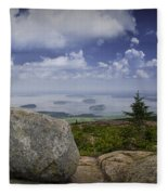 Scenic View With Boulder On Top Of Cadilac Mountain Fleece Blanket