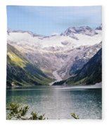 Schlegeis Dam And Reservoir  Fleece Blanket