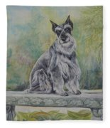 Schnauzer In Garden Fleece Blanket