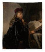 Scholar At His Study Fleece Blanket
