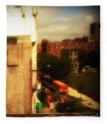 School Bus - New York City Street Scene Fleece Blanket