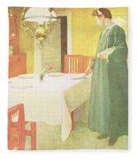 School Household, Dining Room Scene Fleece Blanket