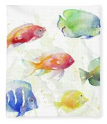 School Of Tropical Fish Fleece Blanket