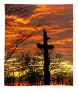 School Totem Pole Sunrise Fleece Blanket