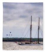 Schooner Sailing Past Fort Sumter Fleece Blanket