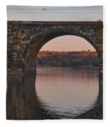 Schuylkill River Railroad Bridge In Autumn Fleece Blanket