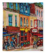 Schwartzs Deli And Warshaw Fruit Store Montreal Landmarks On St Lawrence Street  Fleece Blanket