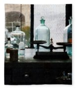 Science - Balance And Bottles In Chem Lab Fleece Blanket