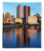 Scioto River And Columbus Ohio Skyline Fleece Blanket