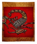 Scorpion On Red And Brown Leather Fleece Blanket