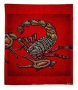 Scorpion On Red Fleece Blanket