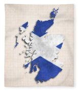 Scotland Map Art With Flag Design Fleece Blanket