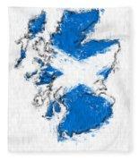 Scotland Painted Flag Map Fleece Blanket