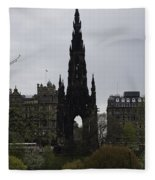 Scott Monument Inside The Princes Street Gardens In Edinburgh Fleece Blanket