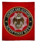Scottish Rite Double-headed Eagle On Red Leather Fleece Blanket