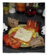 Scrambled Eggs Salami And Cheese For Breakfast. Travelling Baby Pandas Series. Fleece Blanket