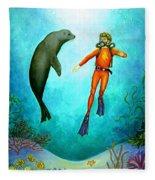 Scuba Diver One Fleece Blanket