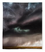 Sculpture - Turquoise Colored Storm Over Kansas Plains Fleece Blanket