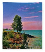 Sea And Tree Fleece Blanket