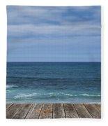 Sea And Wooden Platform Fleece Blanket