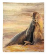 Sea Lion Mom And Pup Love On Galapagos Island Fleece Blanket