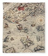 Sea Map By Olaus Magnus Fleece Blanket