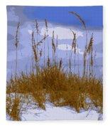 Sea Oats Agaist A Blue Sky Fleece Blanket