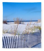 Sea Oats And Fence Along White Sand Fleece Blanket