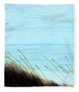 Sea Oats In The Wind Drawing Fleece Blanket