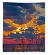 Sea Oats Silhouette Fleece Blanket