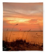 Sea Oats Sunset  Fleece Blanket