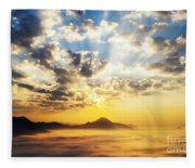 Sea Of Clouds On Sunrise With Ray Lighting Fleece Blanket