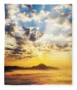 Sea Of Clouds On Sunrise With Ray Lighting Fleece Blanket