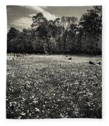 Sea Of Dandelion - Bw Fleece Blanket