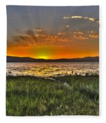Sea Of Galilee Sunset Fleece Blanket