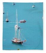 Sea Of Sailboats Fleece Blanket