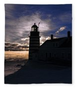 Sea Smoke At West Quoddy Head Lighthouse Fleece Blanket