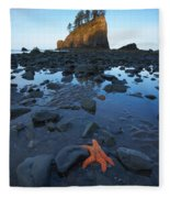Sea Stacks And Star Fish Fleece Blanket