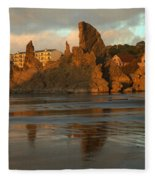 Sea Stacks And The City Fleece Blanket
