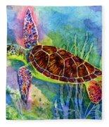 Sea Turtle Fleece Blanket by Hailey E Herrera