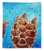 Sea Turtles Swimming Towards The Light Together Fleece Blanket