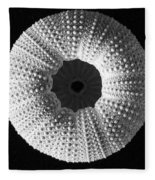 Sea Urchin In Black And White Fleece Blanket